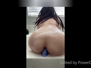 malina riding sex toy in bath tub and me recording