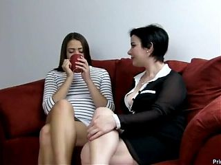 Milf Tricks Young Girl With Coffee into Licking Her Feet